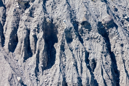 silt: Background texture pattern of glacial moraine of glacier rubble of silt, gravel and boulders eroded by flowing water Stock Photo