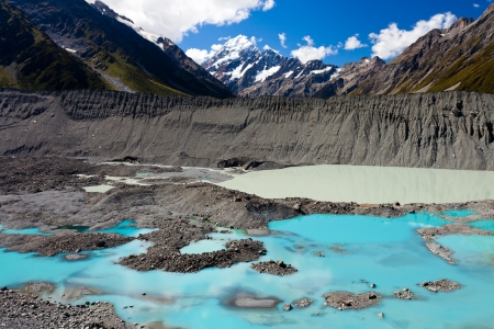 hues: Glacial lake in hues of turquoise from silt in Aoraki Mount Cook National Park with Aoraki Mt Cook in background