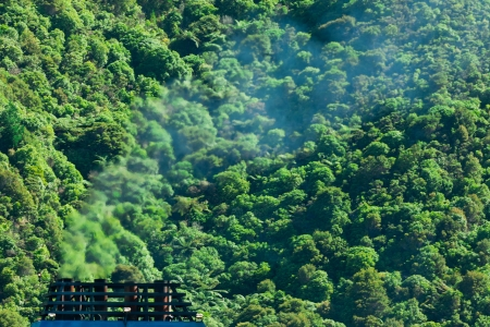 Greenhouse gas atmospheric pollution concept of blue smoke discharged from chimney in front of lush green natural forest background photo