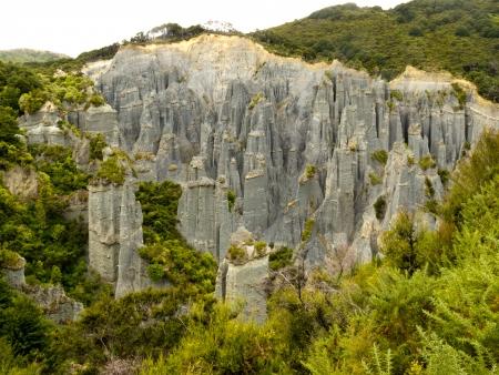 badland: Badland erosion of soft conglomerate sediment formations called Putangirua Pinnacles in the Aorangi Ranges, North Island, New Zealand