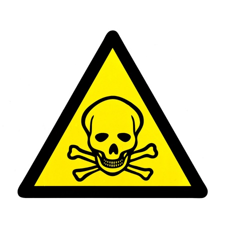 Mortal danger to life skull and crossbones warning sign isolated on white photo