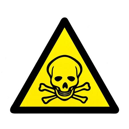 mortal danger: Mortal danger to life skull and crossbones warning sign isolated on white