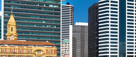 highriser: Dense high-riser buildings of Auckland, New Zealand, forming an abstract of modern architecture