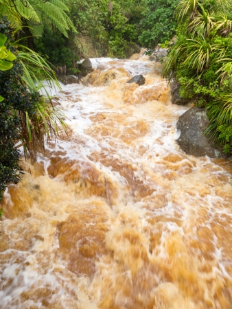 Flash flood na zware regenval razende richting westkust van Zuidereiland, Nieuw-Zeeland Stockfoto