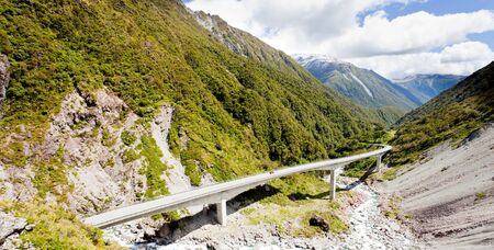 steel bridge: Arthurs Pass Viaduct steel concrete highway bridge in New Zealand, South Island