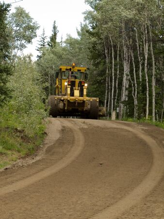 Large yellow grader resurfacing a narrow rural road through a poplar forest with fresh gravel photo