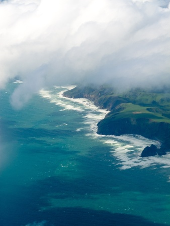 troposphere: Aerial view of cliffs on New Zealand North Island west coast and Tasman Sea Stock Photo