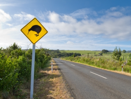 ratite: New Zealand Road Sign, Attention Kiwi Crossing beside country road warning motorist to watch out for this endangered icon of NZ Stock Photo