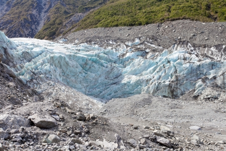 icescape: Large glacier icefield tongue of Fox Glacier, South Island, New Zealand