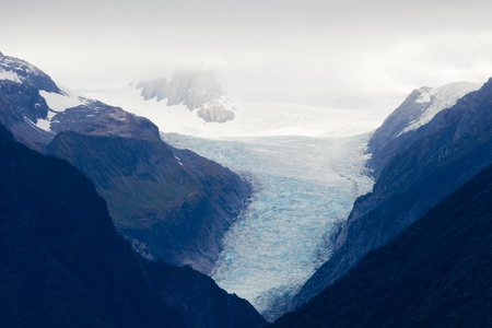 icefield: Large glacier icefield tongue of Fox Glacier, South Island, New Zealand