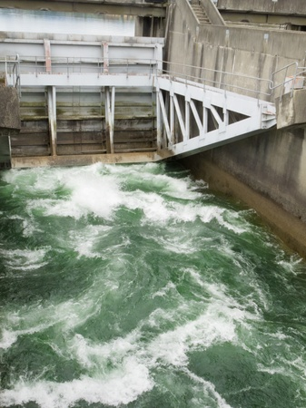turbulence: Hydro control structure weir with flow passing underneath causing a violent turbulence discharge of white water