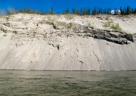 silt: High cut bank of silt, sand and gravel slowly eroding by flowing water of mighty Yukon River, Yukon Territory, Canada