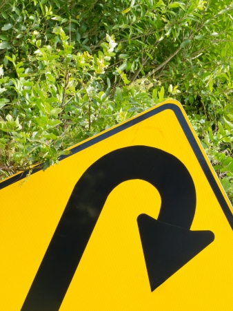 turn sign: U-turn road sign and lush vegetation in a think green concept of environmental turn-around
