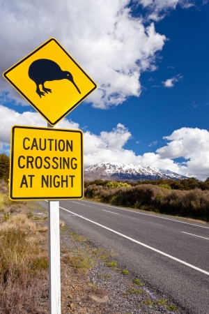 New Zealand Road Sign Attention Kiwi Crossing at road near active volcano of Mount Ruapehu in Tongariro National Park Stock Photo