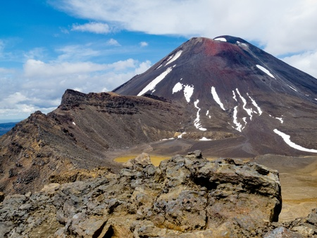 iron oxide: Active volcano cone of Mount Ngauruhoe as seen from Mount Tongariro in Tongariro National Park, North Island of New Zealand