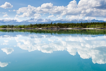 꼭대기가 눈으로 덮인: 녹색 숲이 우거진 언덕 꼭대기가 눈으로 덮인 산과 호수 Laberge, 유콘, 캐나다에는 구름 아름 다운 여름날에 물 표면에 미러됩니다