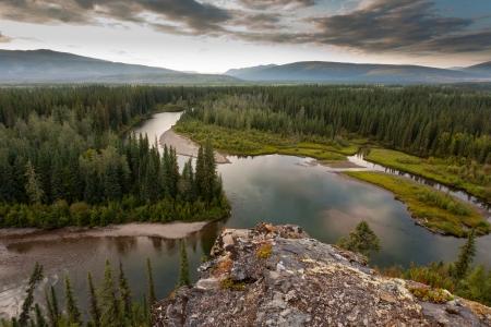 boreal: Boreal forest wilderness in beautiful McQuesten River valley in central Yukon Territory, Canada Stock Photo