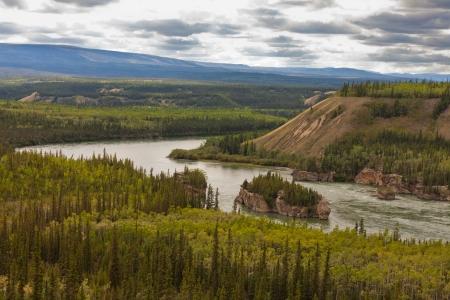 treacherous: Treacherous Five Finger Rapids of the Yukon River near town of Carmacks, Yukon Territory, Canada