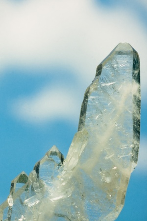 Faden quartz is a usually tabular quartz crystal with a white thread or string in its interior  This specimen was found in Ramsbeck Germany  Stock Photo