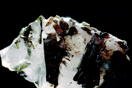 inclusions: Turmaline semiprecious gemstone inclusions in quarz matrix  Birthstone for October