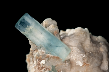 healers: Big well formed Aquamarine crystals on matrix rock  Birthstone for March  Healers use aquamarine for problems related to thymus gland and fluid retention  Found in Pakistan
