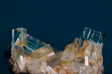 birthstone: Big well formed Aquamarine crystals on matrix rock  Birthstone for March  Healers use aquamarine for problems related to thymus gland and fluid retention  Found in Pakistan