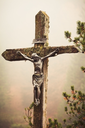 tortured body: Moble photography lo-fi styled image of lichens covered figure of Christ on the Cross at the Crucifixion standing outdoors amonst pine branches against a misty fall forest backdrop