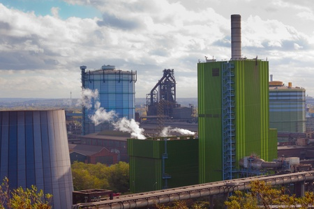blastfurnace: Industrial landscape of steel works industry in Duisburg, Ruhr area, Germany, Europe Stock Photo