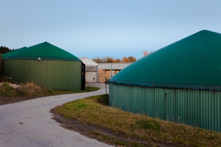 fermenting: bio gas facility for biologically fermenting silage and other organic matter to biogas for environmental friendly energy generation to combat global warming Stock Photo
