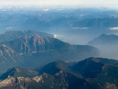 ranges: Aerial view of west coast mountain ranges and fiords of Pacific Ocean in western province of beautiful British Columbia, Canada
