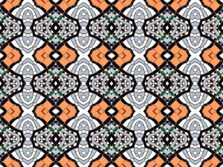 endlos: Nahtlose gefliesten Mosaik-Muster von kaleidoskopischen veränderten rechteckigen echte keramische Fliesen angeordnet bunten geschwungenen Formen für eine wiederholte strukturierten Hintergrund Effekt bilden Lizenzfreie Bilder