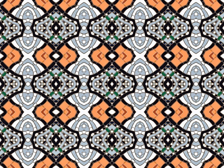 altered: Seamless tiled mosaic pattern of kaleidoscopic altered rectangular real ceramic tiles arranged to form colorful curved shapes for a repeated textured background effect