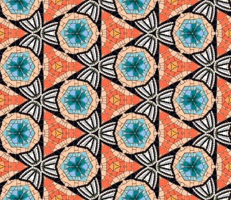 art piece: Seamless tiled mosaic pattern of kaleidoscopic altered hexagonal real ceramic tiles arranged to form colorful triangle shapes for a repeated textured background effect  Stock Photo