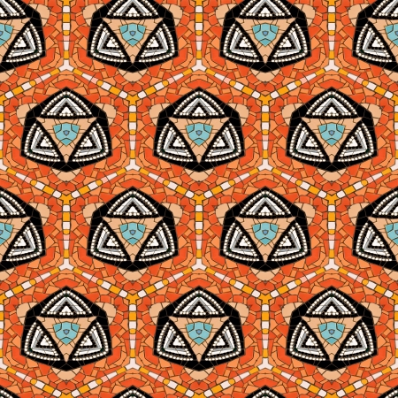Seamless tiled mosaic pattern of kaleidoscopic altered hexagonal real ceramic tiles arranged to form colorful triangle shapes for a repeated textured background effect  Stock Photo