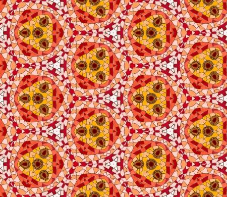 endlos: Nahtlose gefliesten Mosaik-Muster von kaleidoskopischen veränderten sechseckige echte keramische Fliesen angeordnet bunten Dreieck Formen für eine wiederholte strukturierten Hintergrund Wirkung bilden.