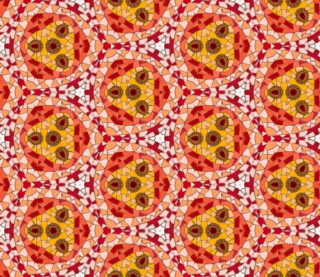 altered: Seamless tiled mosaic pattern of kaleidoscopic altered hexagonal real ceramic tiles arranged to form colorful triangle shapes for a repeated textured background effect.