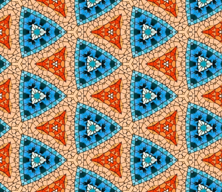 Seamless tiled mosaic pattern of kaleidoscopic altered hexagonal real ceramic tiles arranged to form colorful triangle shapes for a repeated textured background effect  Stok Fotoğraf