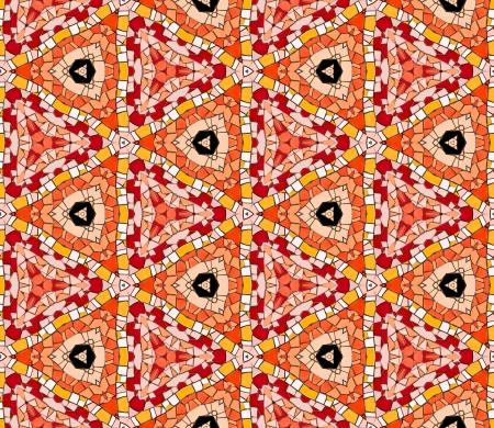 endlos: Nahtlose gefliesten Mosaik-Muster von kaleidoskopischen veränderten sechseckige echte keramische Fliesen angeordnet bunten Dreieck Formen für eine wiederholte strukturierten Hintergrund Effekt bilden