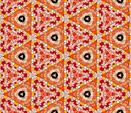 altered: Seamless tiled mosaic pattern of kaleidoscopic altered hexagonal real ceramic tiles arranged to form colorful triangle shapes for a repeated textured background effect  Stock Photo