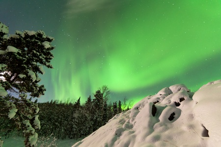 Spectacular display of intense Northern Lights or Aurora borealis or polar lights forming green swirls over frozen Lake Laberge  Yukon Territory  Canada winter landscape Stock Photo - 17840784