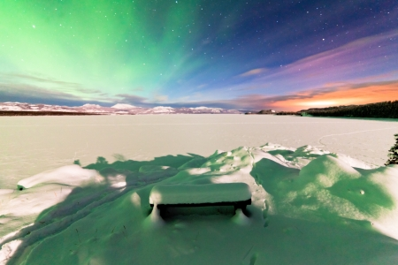 Spectacular display of intense Northern Lights or Aurora borealis or polar lights forming green swirls over frozen Lake Laberge  Yukon Territory  Canada winter landscape