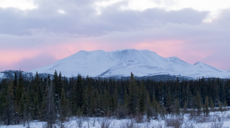 whitehorse: Purple sunset behind Little Peak  app  50 km north of Whitehorse  Yukon Territory  Canada  in winter  Stock Photo