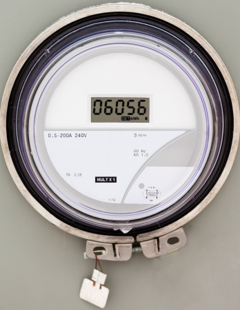 electric utility: Modern smart grid residential digital power supply meter Stock Photo