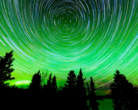 Astrophotography star trails around the Polar Star or Polaris and green glowing display of Northern Lights or Aurora borealis in over taiga forest trees of Yukon Territory  Canada