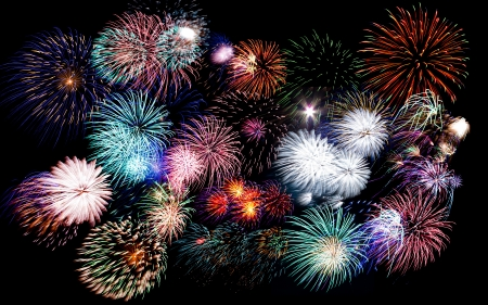 firework: Colorful festive fireworks  sparklers  salute and petards explosions isolated over black night sky background Stock Photo