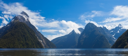 Milford Sound and Mitre Peak in Fjordland National Park  Southern Alps  New Zealand photo