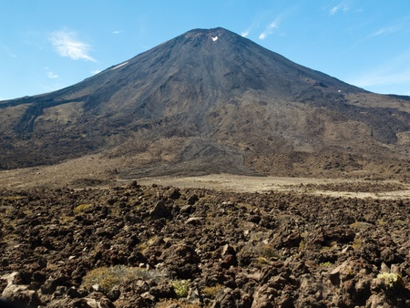 tongariro national park: Lava field at base of active volcano cone of Mount Ngauruhoe in Tongariro National Park  North Island of New Zealand