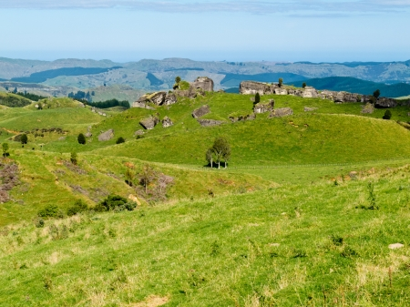 Scenic landscape of rural farmland pasture in hill country of Hawkes Bay district on North Island of New Zealand photo