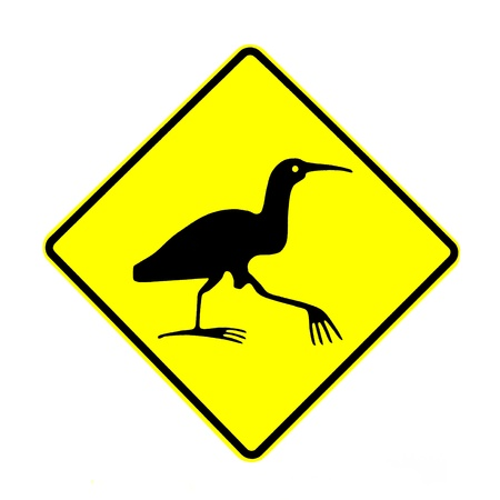 bittern: New Zealand Road Sign  Attention Bittern Crossing isolated on white background