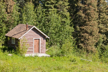 cabins: Old solid rural log cabin shelter standing in clearing at the edge of a lush green forest  perfect as a peaceful getaway
